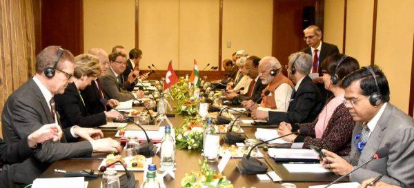 Modi at the delegation level talks, in Geneva
