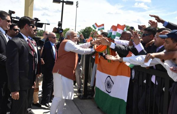Modi being greeted on his arrival, in Washington DC