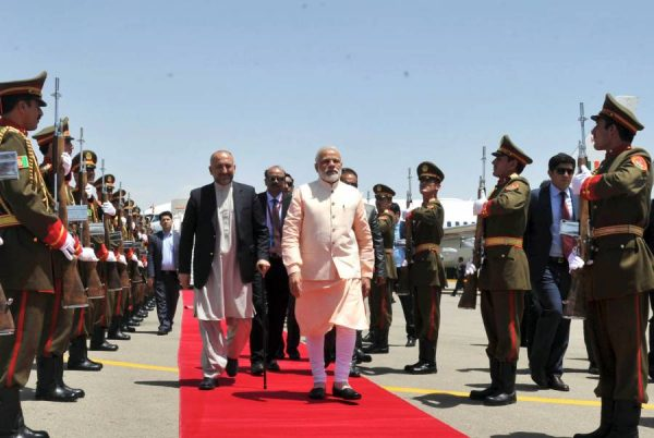 Modi being welcomed on his arrival, at Herat, Afghanistan