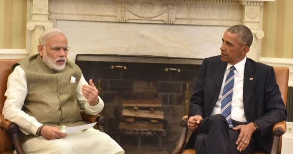 Modi meeting the President of United States of America (USA), Mr. Barack Obama in Oval Office, at White House, in Washington DC