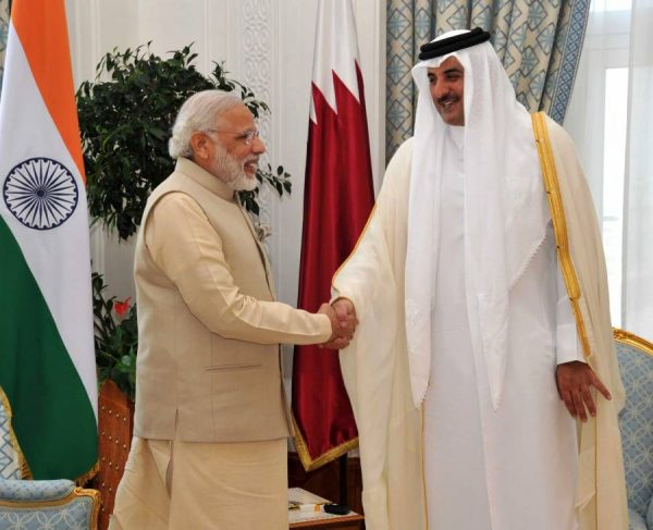 Modi with the Emir of Qatar Sheikh Tamim Bin Hamad Al Thani, in Doha, Qatar