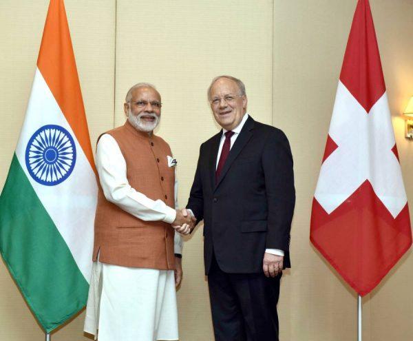 Modi with the President of the Swiss Federation, Mr. Johann Schneider-Ammann, in Geneva