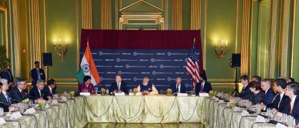 Modi with the top CEOs as he attends the USIBC Round-table, in Washington DC, USA