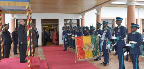 Indian President Pranab Mukherjee inspecting the Guard of Honour during his Ceremonial Welcome, at Kotoka International Airport, in Accra, Ghana