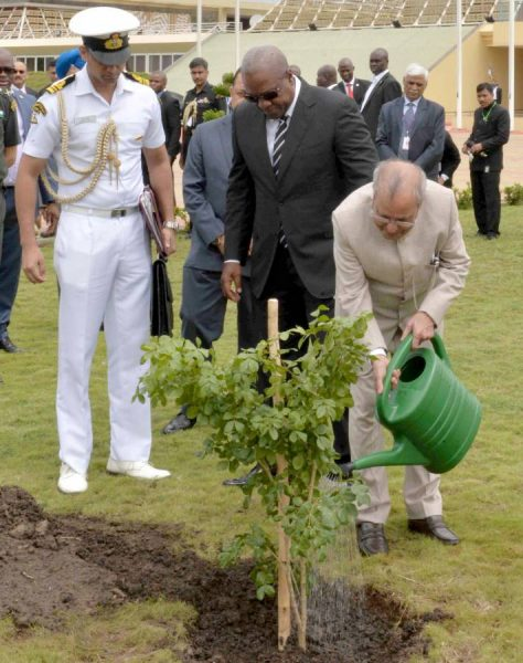 President Pranab Mukherjee planting a sapling, at Flagstaff House, in Accra, Ghana on June 13, 2016. The President of the Republic of Ghana, Mr. John Dramani Mahama is also seen.