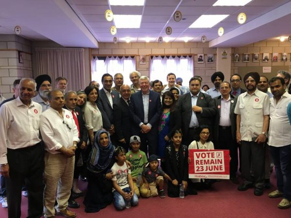 Ealing Southall MP Virendra Sharma along with Alan Johnson campaigning  for Remain