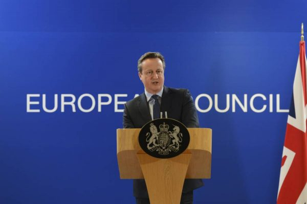 Prime Minister David Cameron addressing a European Council meeting at Brussels