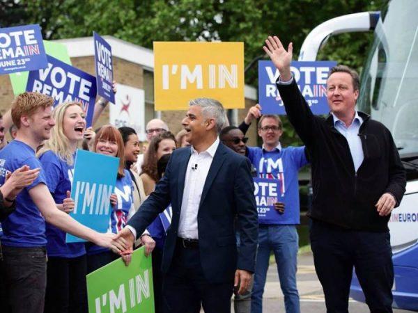 London Mayor Sadiq Khan campaign with Prime Minister David Cameron in London