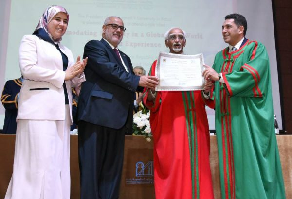 Vice President Mr M. Hamid Ansari being conferred an honoris causa degree by Mohammed V University, in Rabat, Morocco on June 01, 2016. The Prime Minister of Morocco, Mr. Abdelilah Benkirane is also seen