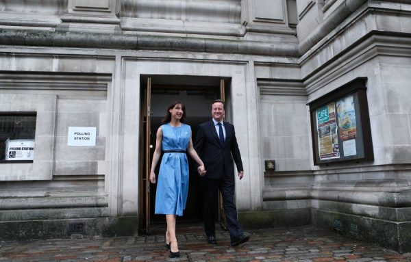 Prime Minister David Cameron and Samantha Cameron arrive at polling booth
