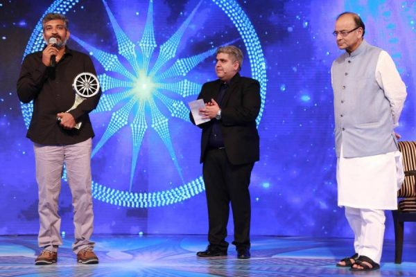 Bahubali` director S.S. Rajamouli and Union finance minister Arun Jaitley during CNN-News18`s Indian of The Year Award 2016, in New Delhi (File)