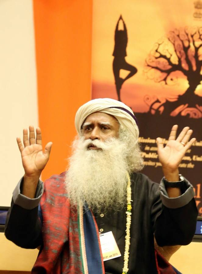 """Sadhguru Jaggi Vasudev at the United Nations during the """"Conversation with Masters: Yoga for the Achievement of Sustainable Development Goals"""" program"""