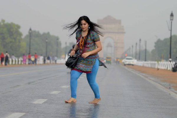 A Delhiite enjoying the rains near India Gate