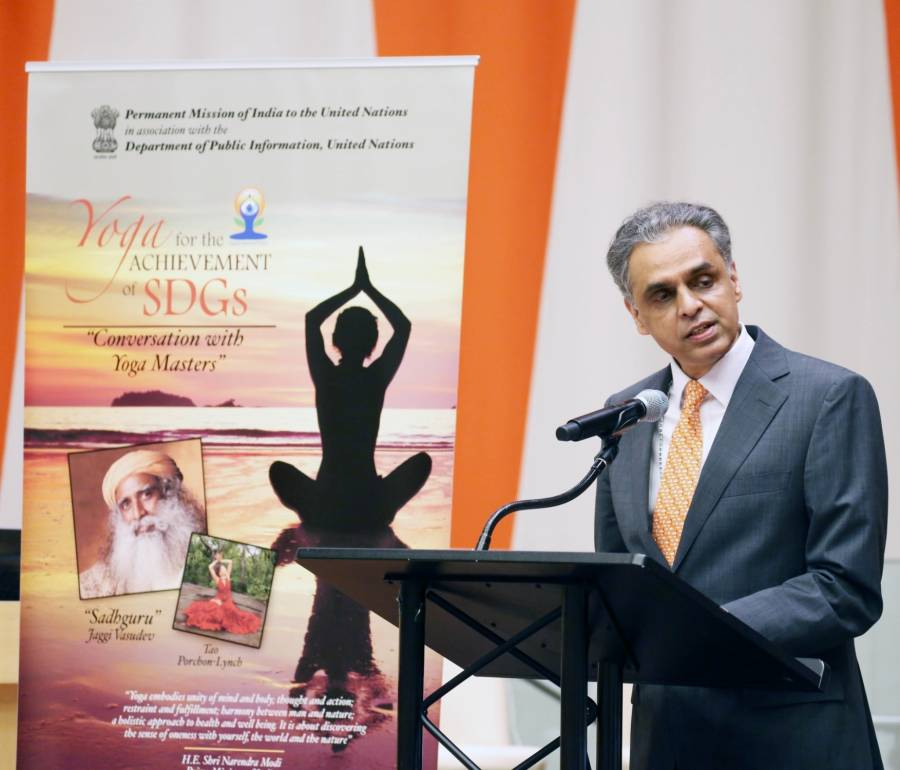 United Nations: India`s Permanent Representative to the United Nations, Syed Akbaruddin greets the audience