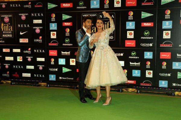 Actor Ranveer Singh and Deepika Padukone during IIFA Awards in Madrid