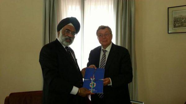 Dr Reinhold Festge, President of German Industry Association VDMA with Ambassador Gurjit Singh