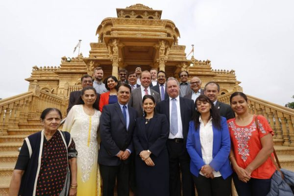 Priti Patel MP along with Bob Blackman MP, Suella Fernandes MP, Nusrat Ghani MP, David Burrowes MP and Paul Scully MP with temple officials and supporters