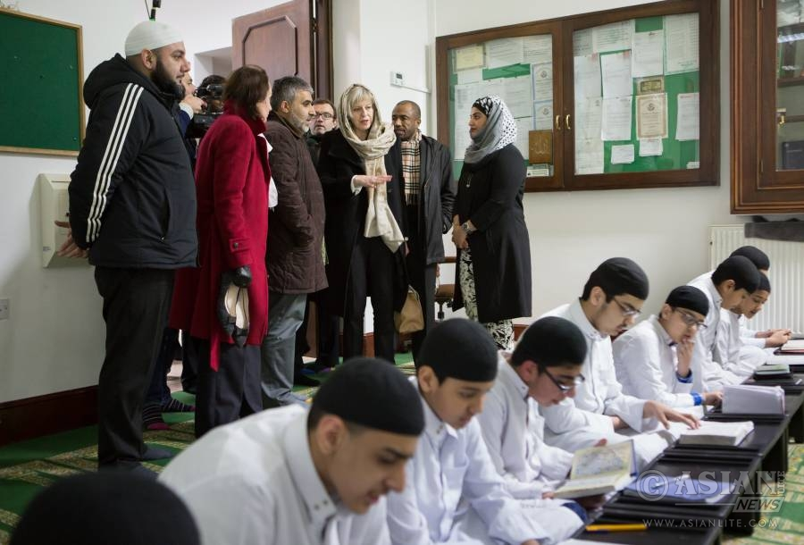 Prime Minister Theresa May visiting a mosque (file)