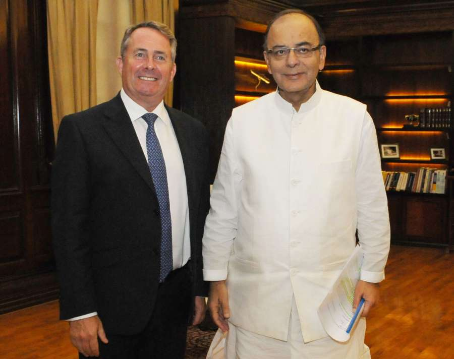 UK Secretary for State for International Trade Dr. Liam Fox with Indian Minister for Finance and Corporate Affairs Mr  Arun Jaitley in New Delhi