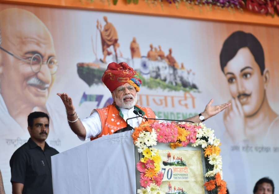 Prime Minister Narendra Modi addresses at the public meeting to mark the launch of 70th Freedom Year Celebrations, in Bhabra village, Alirajpur district, Madhya Pradesh