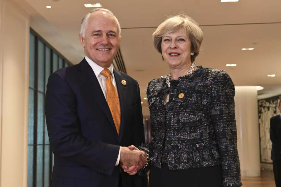 British Prime Minister Theresa May with Australian counterpart Malcolm Bligh Turnbull