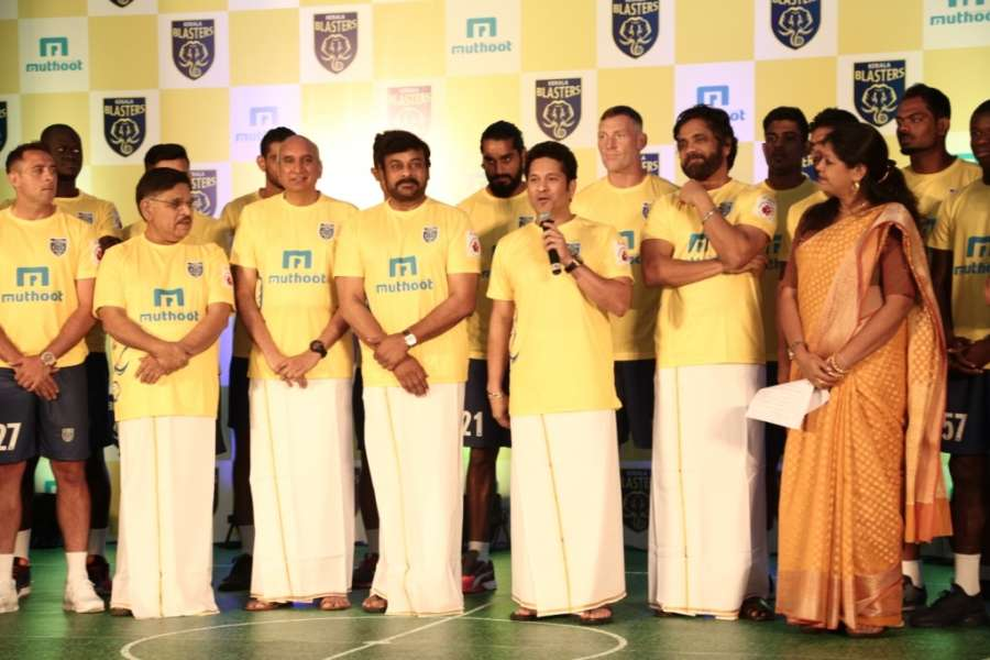 Cricket legend and Kerala Blasters owner Sachin Tendulkar along with co-owner and actor Chiranjeevi, Nagarjuna, industrialist Nimmagadda Prasad, producer Allu Aravind, Muthoot Pappachan Group and Thomas Muthoot Director Thomas George Muthoot their team ahead of the 2016 season of the Indian Super League (ISL) at a gala ceremony in Kochi (File)