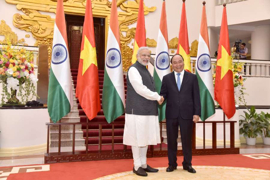 Modi meeting the Prime Minister of Socialist Republic of Vietnam, Mr. Nguyen Xuan Phuc, at the Presidential Place, in Hanoi, Vietnam