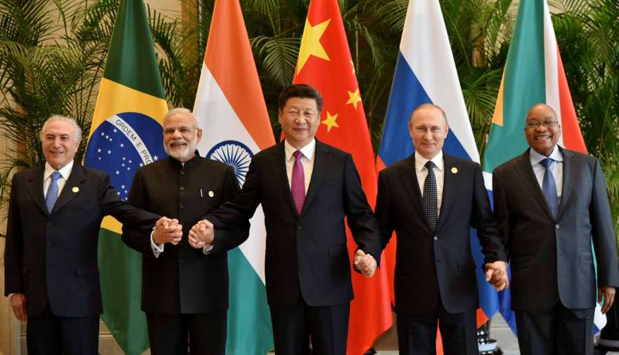 Modi with other BRICS leaders in a family photograph, in Hangzhou, China 1