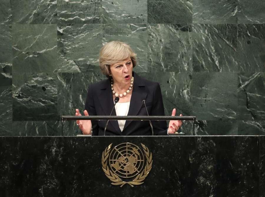 British Prime Minister Theresa May addressig the UNGA