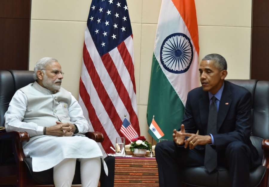 Prime Minister Narendra Modi meets the President of United States of America (USA) Barack Obama on the sidelines of the 11th East Asia Summit at Vientiane, Lao PDR