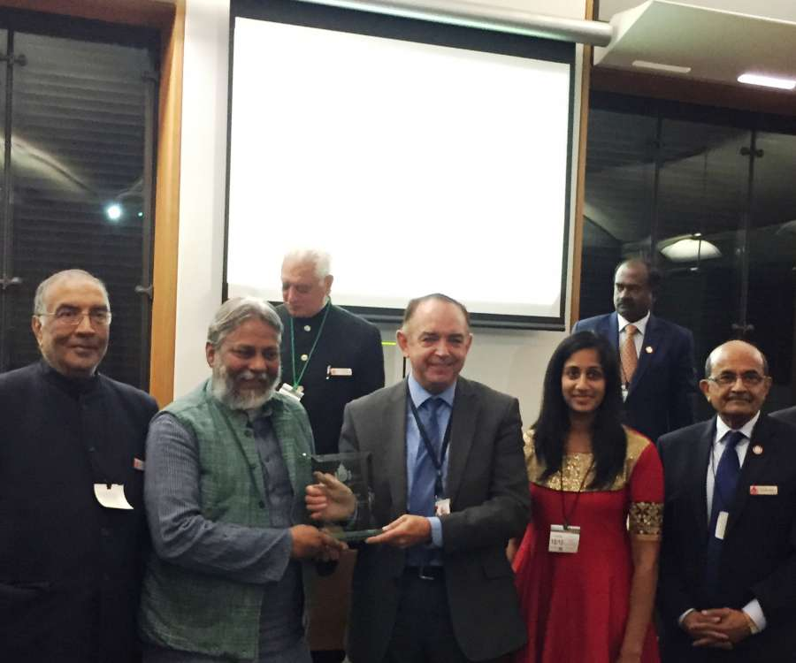 Communities Minister Lord Bourne of Aberystwyth presents the Ahimsa Day award to Rajendra Singh, the world-renowned water conservationist from India
