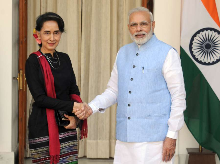 Modi with the State Counsellor of Myanmar, Ms. Aung San Suu Kyi, at Hyderabad House, in New Delhi