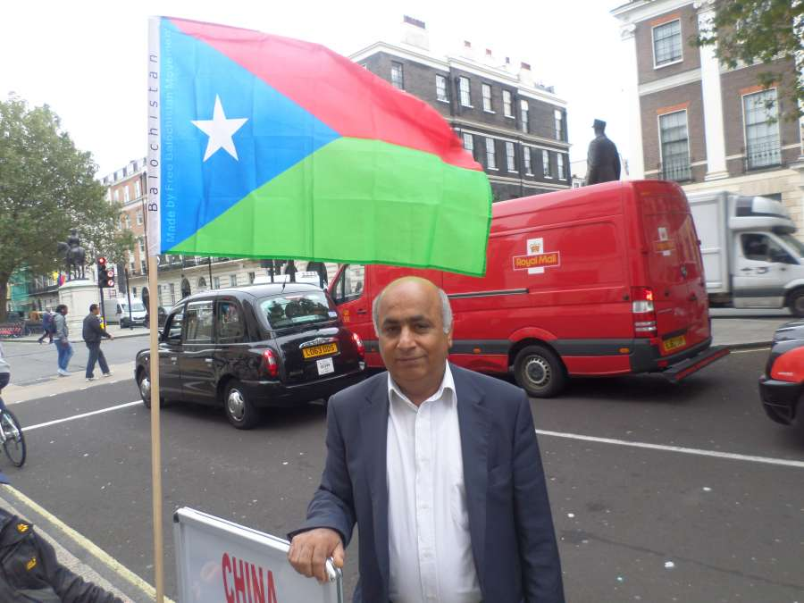 A Baloch activist protest in front of Chinese embassy in London