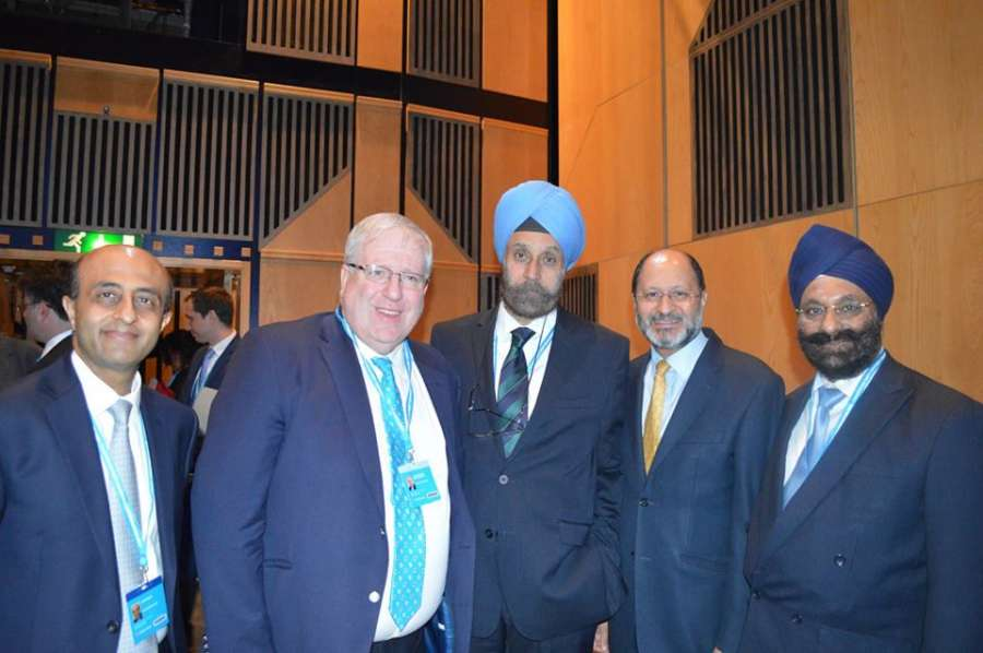 Conservative Chairman Patrick McLughlin, High Commissioner Navtej Singh Sarna with Mr Ranjit Baxi and Shailesh Vara, co-chairs of the Conservative Friends of India, addressing the reception
