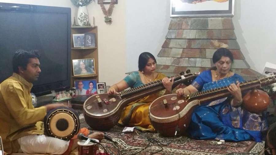 'Veena Paani' Smt Emani Kalyani with daughter Padmini Pasumarthy and Mr Ranganath  Magadi on Mridangam