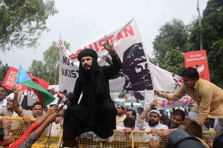 Baloch leaders stage a demonstration against Pakistan in New Delhi