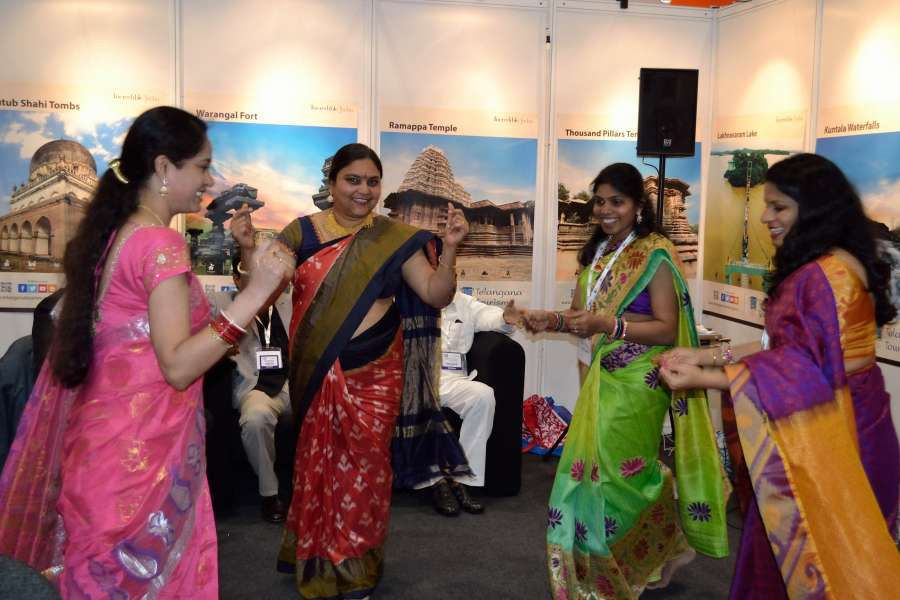Bathukamma dance at Telangana stall