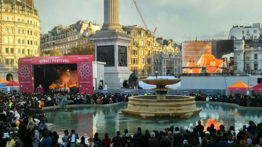 Diwali celebrations at Trafalgar Square in London