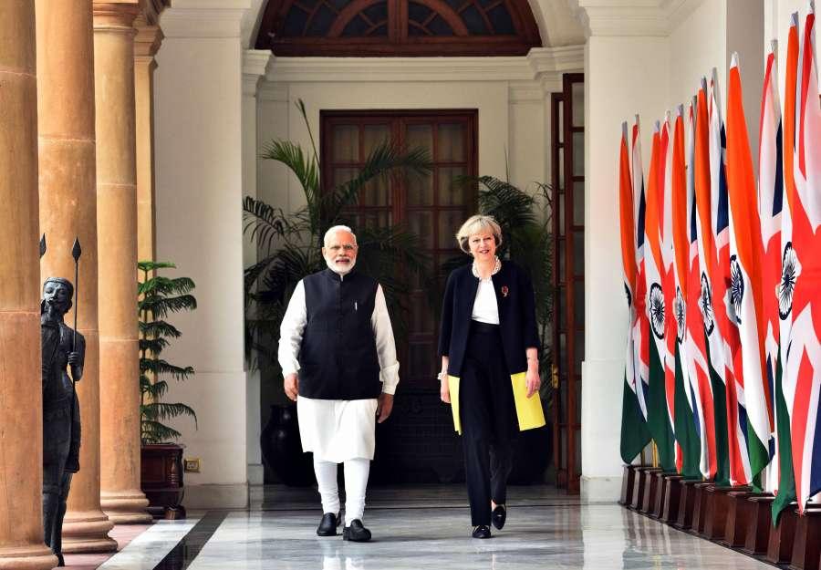 British Prime Minister Theresa May and Prime Minister Narendra Modi in New Delhi