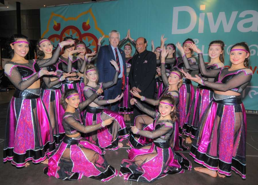 Indian Honorary Consul for Wales Mr Raj Aggarwal  with dancers and guests