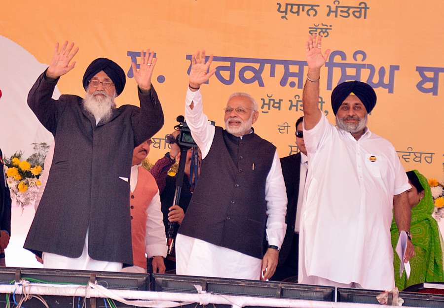 Prime Minister Narendra Modi during the Foundation Stone laying ceremony of All India Institute of Medical Sciences (AIIMS) in Bathinda on Nov 25, 2016. Also seen Punjab Chief Minister Parkash Singh Badal, Deputy Chief Minister Sukhbir Singh Badal, Union Minister JP Nadda and Harsimrat Kaur.