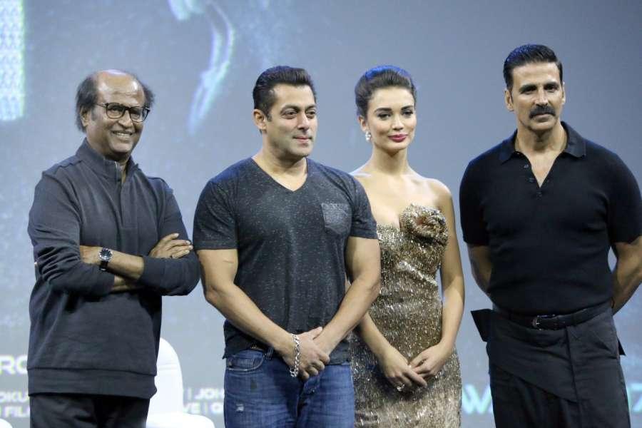 Mumbai: South Indian actor Rajinikanth, Akshay Kumar, Salman Khan and Amy Jackson during the first look of film 2.0, in Mumbai, on Nov 20, 2016. The film 2.0, is sequel to Enthiran (Robo in Telugu and Robot in Hindi). (Photo: IANS)