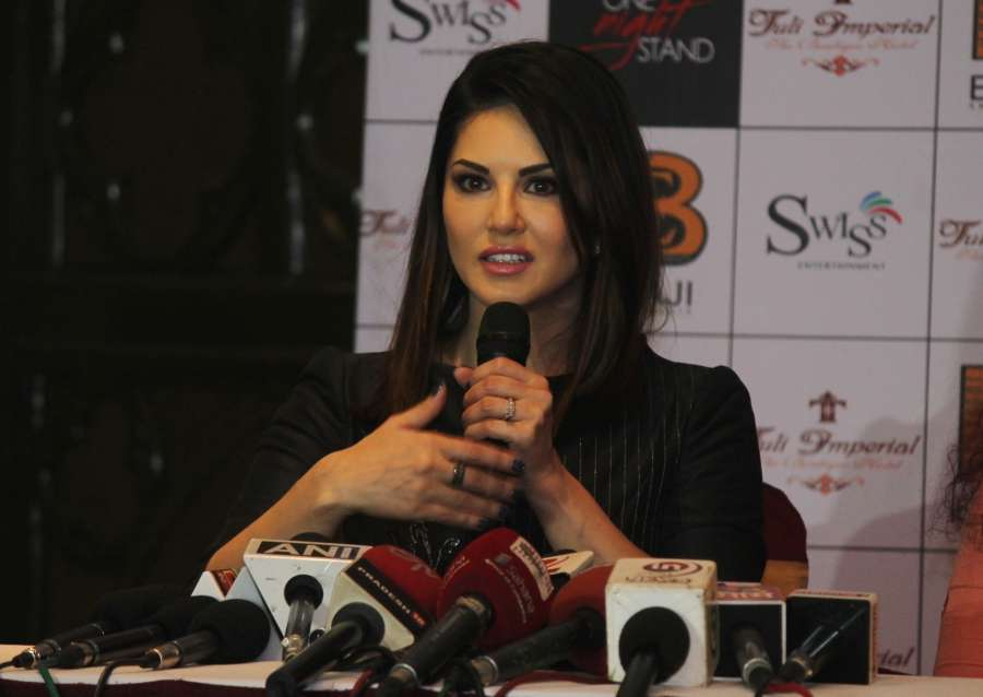 "Nagpur: Actress Sunny Leone addresses a press conference regarding her upcoming film ""One Night Stand"" in Nagpur, on April 26, 2016. (Photo: IANS)"