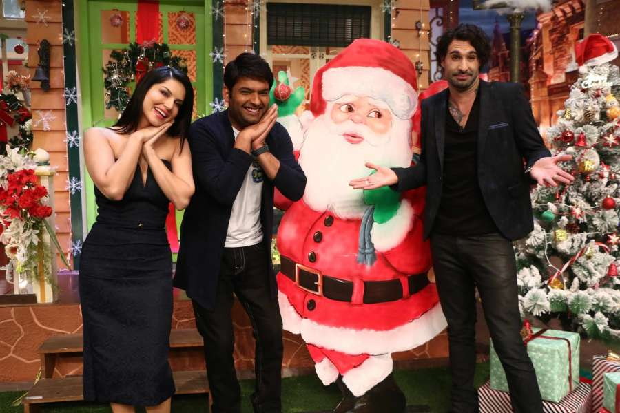 Mumbai: Actress Sunny Leone along with her husband Daniel Weber and Stand up comedian Kapil Sharma on the sets of The Kapil Sharma Show in Mumbai, on Dec 22, 2016. (Photo: IANS)