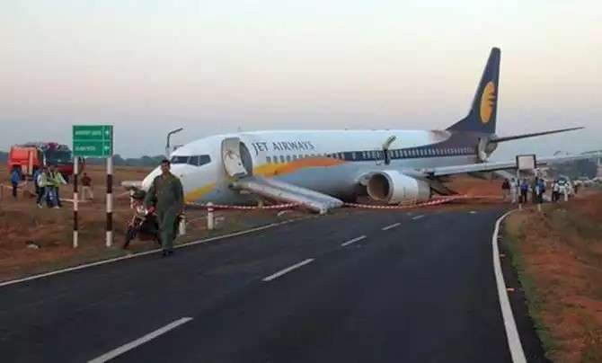 Goa: A Jet Airways plane which skidded off the runway during take-off at Dabolim International Airport in Goa on Dec. 27, 2016. (Photo: IANS)