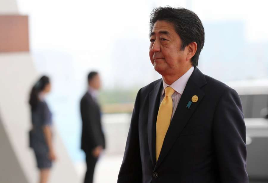 HANGZHOU, Sept. 4, 2016 (Xinhua) -- Japanese Prime Minister Shinzo Abe arrives at Hangzhou International Expo Center to attend the G20 summit in Hangzhou, capital of east China's Zhejiang Province, Sept. 4, 2016. The 11th G20 summit opened here on Sunday. (Xinhua/Xing Guangli/IANS)