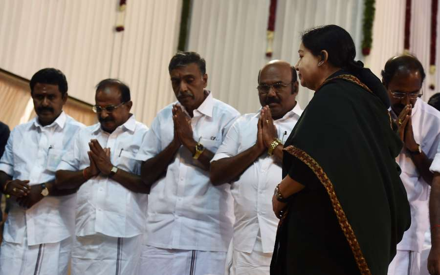 Chennai: AIADMK general secretary Jayalalithaa during her swearing in ceremony as Tamil Nadu chief minister at Madras University in Chennai, on May 23, 2016. (Photo: IANS)