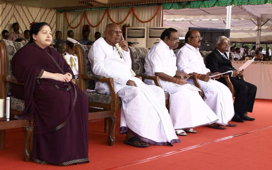Chennai: Tamil Nadu chief minister J. Jayalalithaa during Republic Day programme at Marina beach in Chennai on Jan 26, 2016. (Photo: IANS)