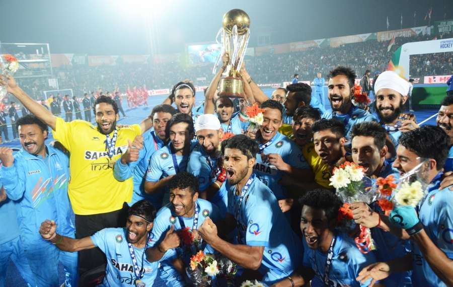 Lucknow: Indian players celebrate after winning the Hockey Junior World Cup against Belgium in Lucknow, on Dec 18, 2016. (Photo: IANS)
