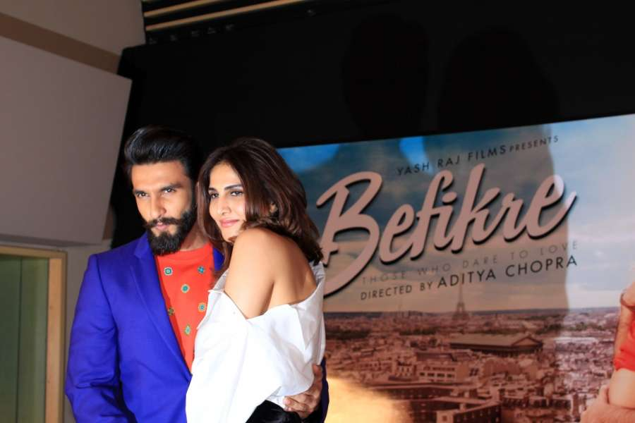 Mumbai: Actors Ranveer Singh and Vaani Kapoor during the song launch You And Me from film Befikre in Mumbai, on Nov 15, 2016. (Photo: IANS)